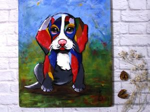 Рисуем яркого щенка бигля. Ярмарка Мастеров - ручная работа, handmade.