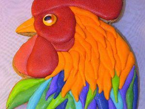 Расписываем пряники в виде Петуха цветной глазурью. Ярмарка Мастеров - ручная работа, handmade.