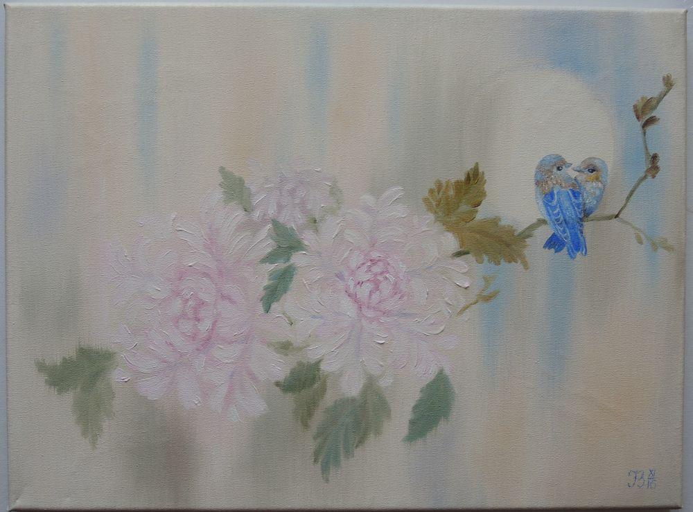 пион, цветы, цветок, символ любви, символ процветания, ирина белозерова, парочка, картина маслом, картина маслом цветы, птички
