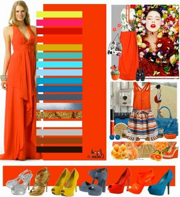 Сочетание кораллового цвета в одежде фото