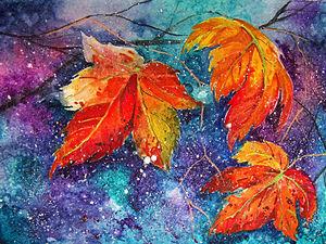 Осенний мастер-класс: акварель по-мокрому | Ярмарка Мастеров - ручная работа, handmade