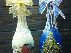 А мы уже готовимся! Декупаж новогодней бутылки! | Ярмарка Мастеров - ручная работа, handmade