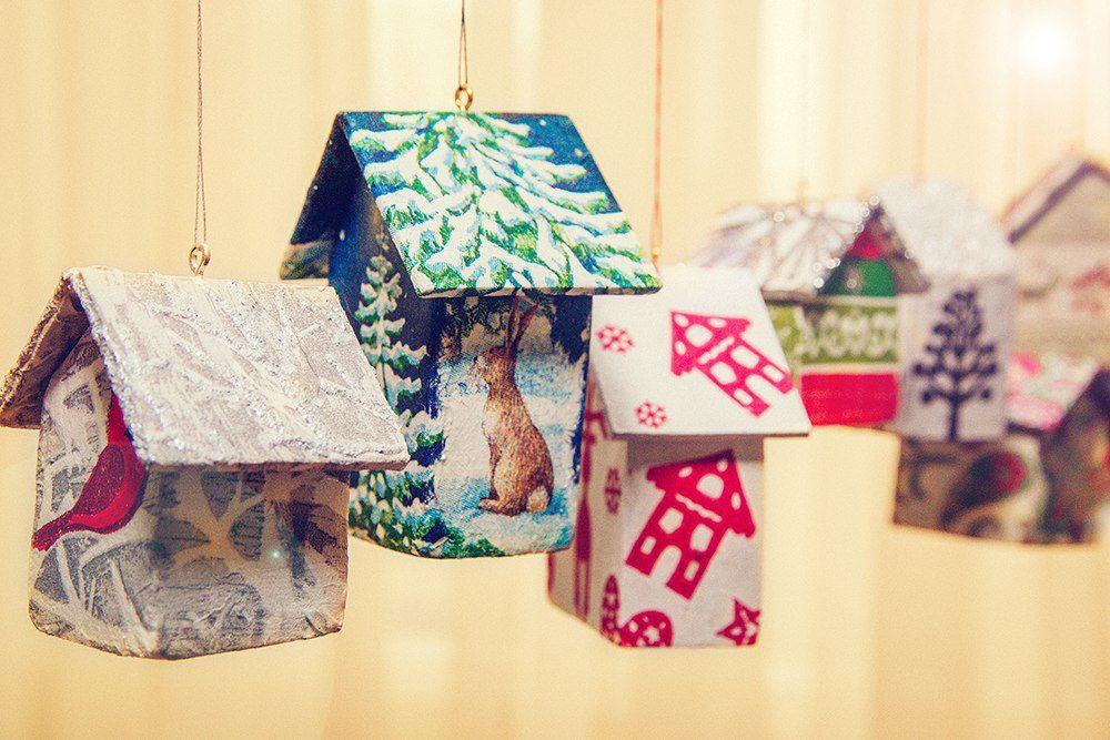 крылья искусства, новогоднее украшение, домики