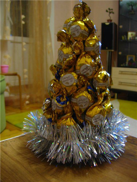 композиция из конфет, елочка, конфеты, новогодний декор