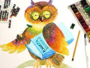 Рисуем птиц масляной пастелью. Мудрая Сова. Ярмарка Мастеров - ручная работа, handmade.
