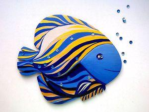 Роспись деревянного панно «Волшебная рыбка». Ярмарка Мастеров - ручная работа, handmade.