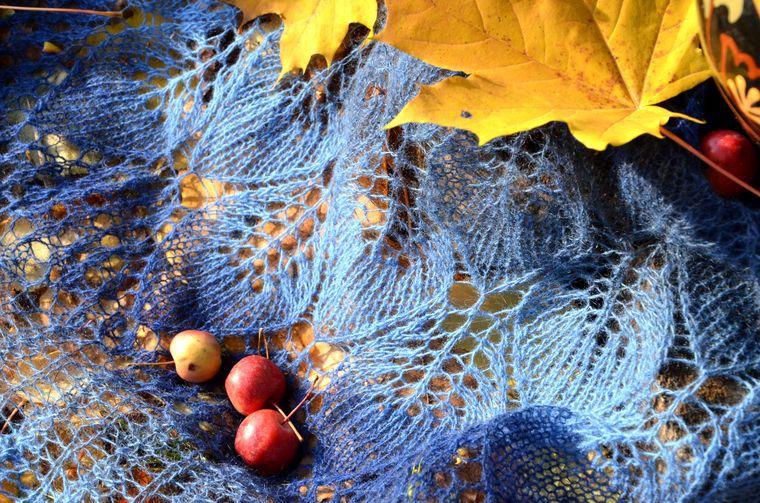 шаль, шерсть, платок вязаный