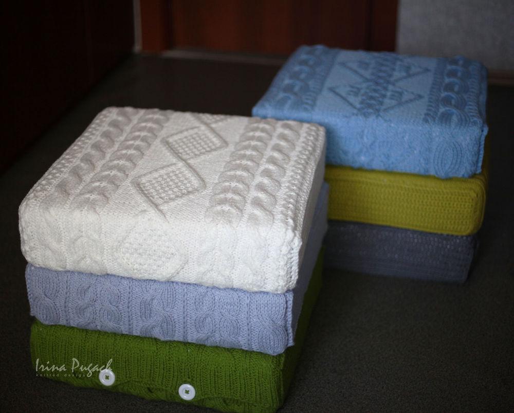 вязаная подушка для пола