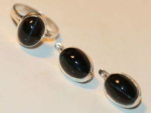 Серьги кольцо диопсид звёздчатый натуральный серебро 925%