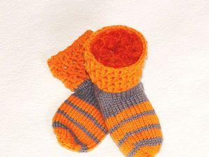 Новая работа. Полосатые детские носочки | Ярмарка Мастеров - ручная работа, handmade