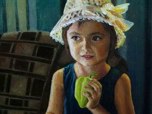 Новая работа! Картина Девочка в шляпке. Ярмарка Мастеров - ручная работа, handmade.