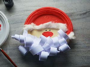 Дед Мороз на одноразовой  тарелке. Ярмарка Мастеров - ручная работа, handmade.