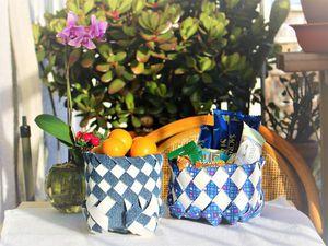 Видео мастер-класс: плетем корзиночки из молочных пакетов. Ярмарка Мастеров - ручная работа, handmade.