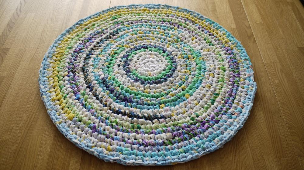 бабушкин коврик, вязание по кругу, эко стиль