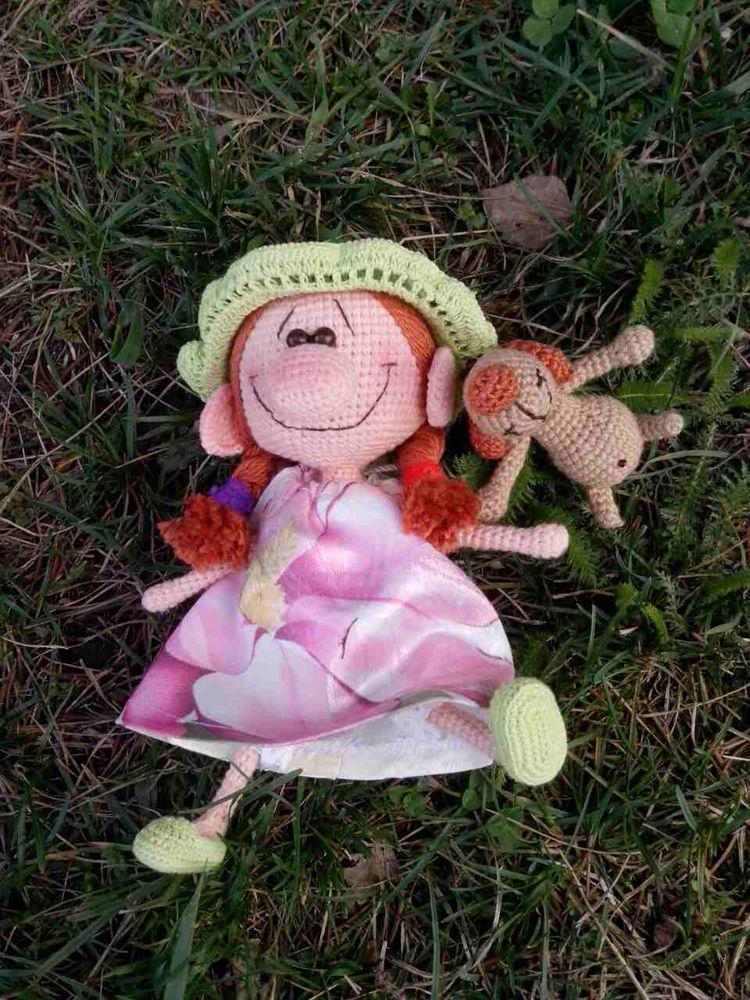 амигуруми, девочка с собакой, интерьерная игрушка, собака крючком