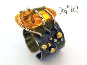 """Кольцо """"Краб"""" с цитрином. Ярмарка Мастеров - ручная работа, handmade."""