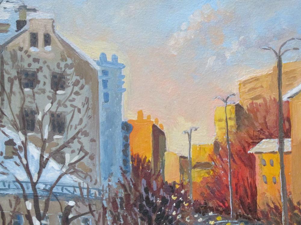 картина маслом, улица, авторская живопись, солнечный, картина для настроения, автомобиль, необычная картина