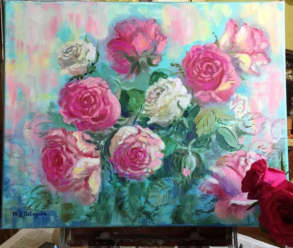 розы на картине, авторская картина
