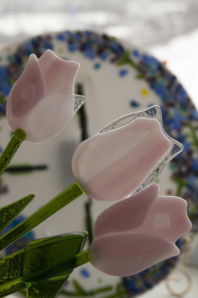 тюльпаны, букет тюльпанов, 8 марта, подарок девушке, стекло, цветы из стекла, розовые тюльпаны