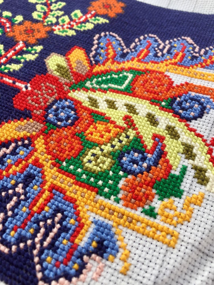 схема для вышивки крестом, ручная вышивка, темно-синий, диванная подушечка