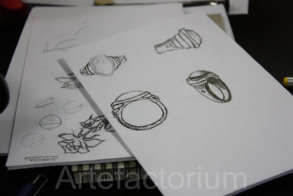 ювелирная композиция, курс по дизайну, эскиз, проектирование украшений