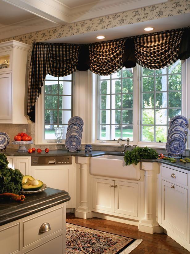 Cottage Style Kitchen Window Treatment - on HGTV