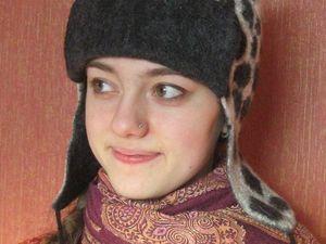 Скидка 50% на зимнюю валяную шапочку с ушками