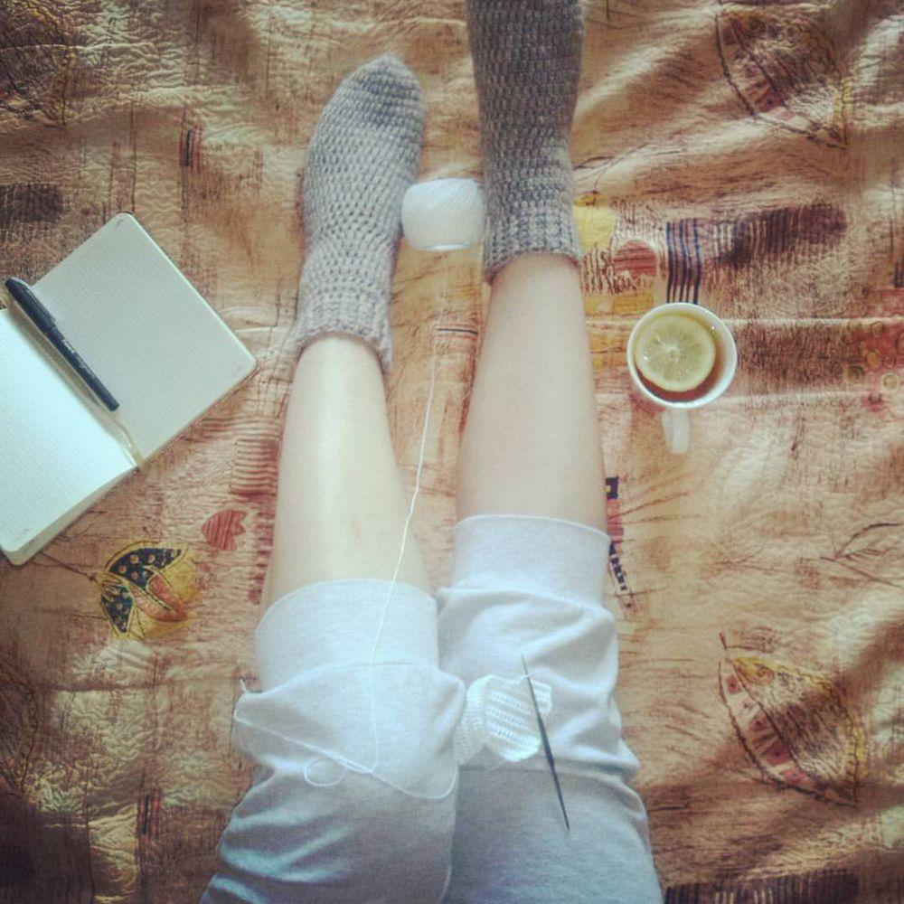 вязание, носки шерстяные, тёплые носки, серые носки, носочки