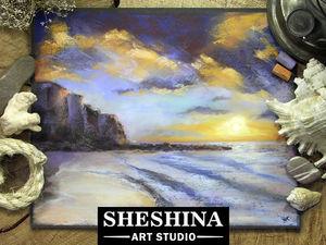 Видеоурок: рисуем закат на море сухой пастелью. Ярмарка Мастеров - ручная работа, handmade.