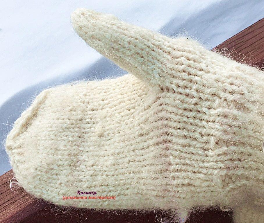 варежки ручной работы, белые вязаные варежки, варежки из шерсти овцы, шерстяные из овечьей
