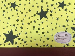 Приехали Звезды на желтом. Футер 2-х нитка набивной с лайкрой. Ярмарка Мастеров - ручная работа, handmade.