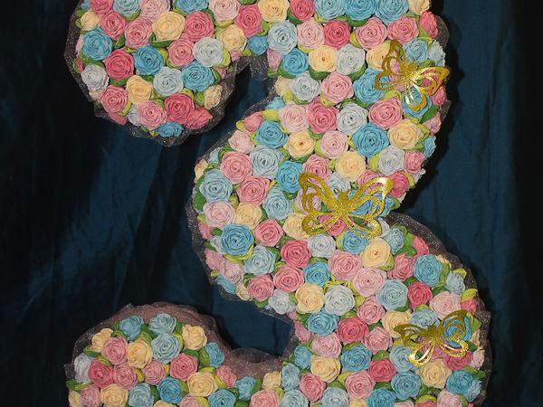 Как сделать объемную цифру 3 из бумажных роз со стразами: видео мастер-класс | Ярмарка Мастеров - ручная работа, handmade