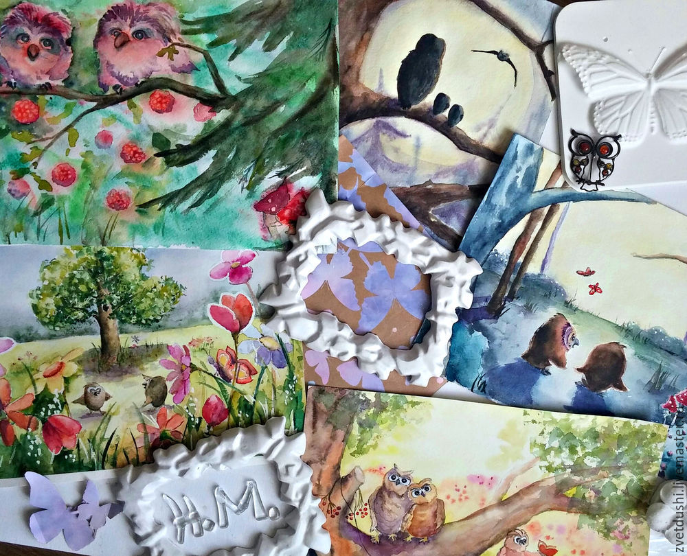 Интуитивная акварельная  живопись и ее «последствия»: совиная история, фото № 10