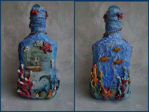 Декорируем бутылку в морском стиле. Ярмарка Мастеров - ручная работа, handmade.