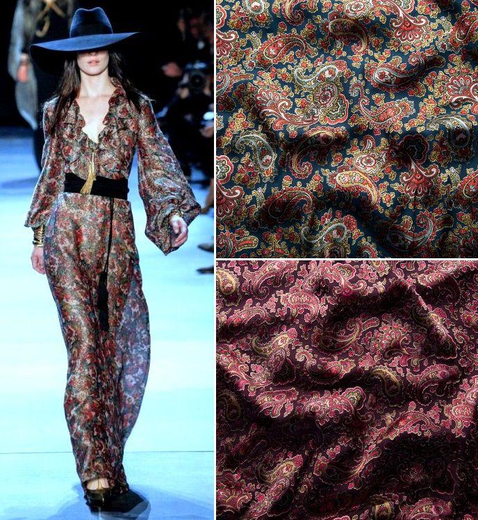 шелк деворе, принт огурцы, ткани для одежды, легкие ткани