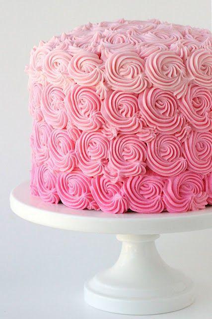 Beautiful Pink Ombre Swirl Cake