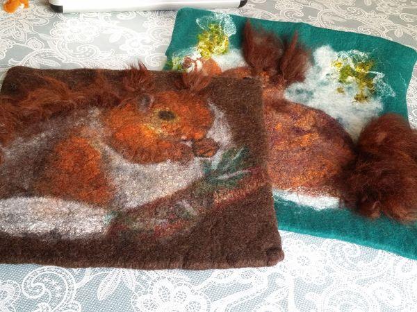 Валяем декоративную подушку «Белочка»   Ярмарка Мастеров - ручная работа, handmade
