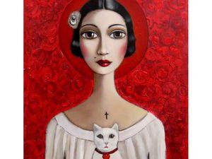 Девочка и кот на картинах Sandra Pelser. Ярмарка Мастеров - ручная работа, handmade.