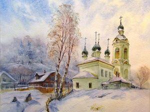 Рисуем зимний пейзаж акварелью. Ярмарка Мастеров - ручная работа, handmade.