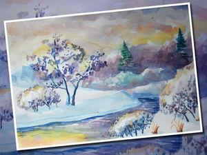 Рисуем зимний пейзаж акварелью. Видео мастер-класс. Ярмарка Мастеров - ручная работа, handmade.