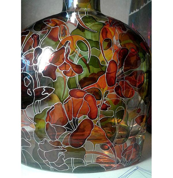 бутылка с настурциями, зеленый и оранжевый, цветы на бутылке