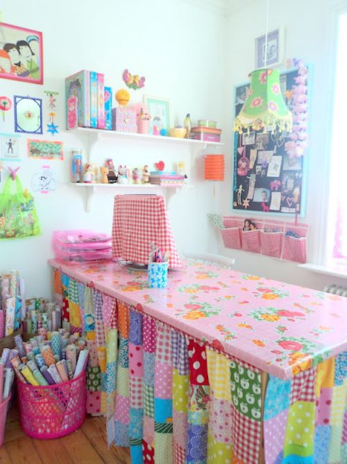 I love all the color and pattern in this sewing room!