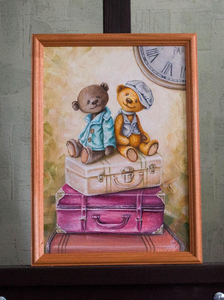 картина, картина маслом, картина в подарок, картина в детскую, мишки тедди