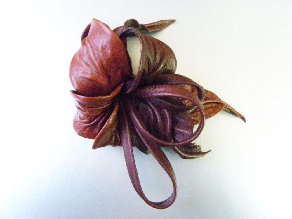 новинка, цветок из кожи, терракотовый, брошь купить в москве, необычная брошь