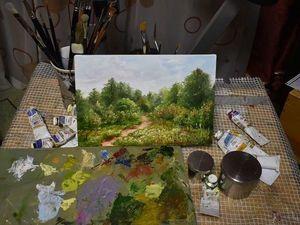 Видеоурок: летний пейзаж на холсте маленького формата. Ярмарка Мастеров - ручная работа, handmade.