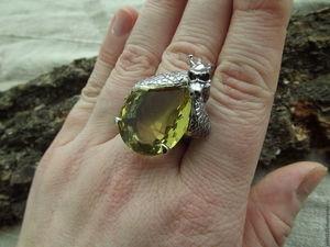 """Скидка 20%кольцо """"Хранитель Удачи и Благосостояния"""" с цитрином. Ярмарка Мастеров - ручная работа, handmade."""