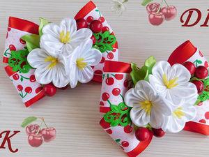 Видео мастер-класс: создаем бантики «Вишенка» с цветами канзаши. Ярмарка Мастеров - ручная работа, handmade.