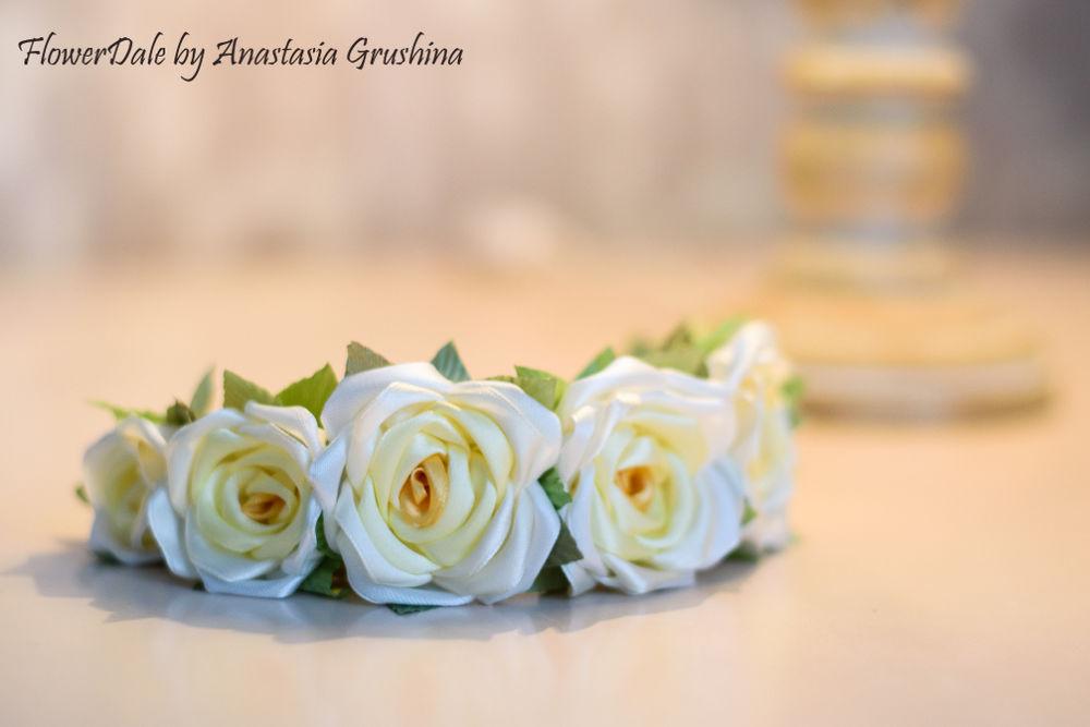 цветы из лент, аксессуары для невесты, атласные ленты