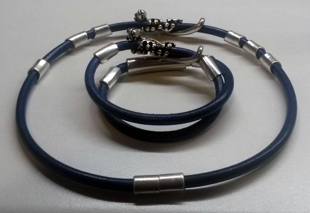 комплект украшений, кожаные серьги