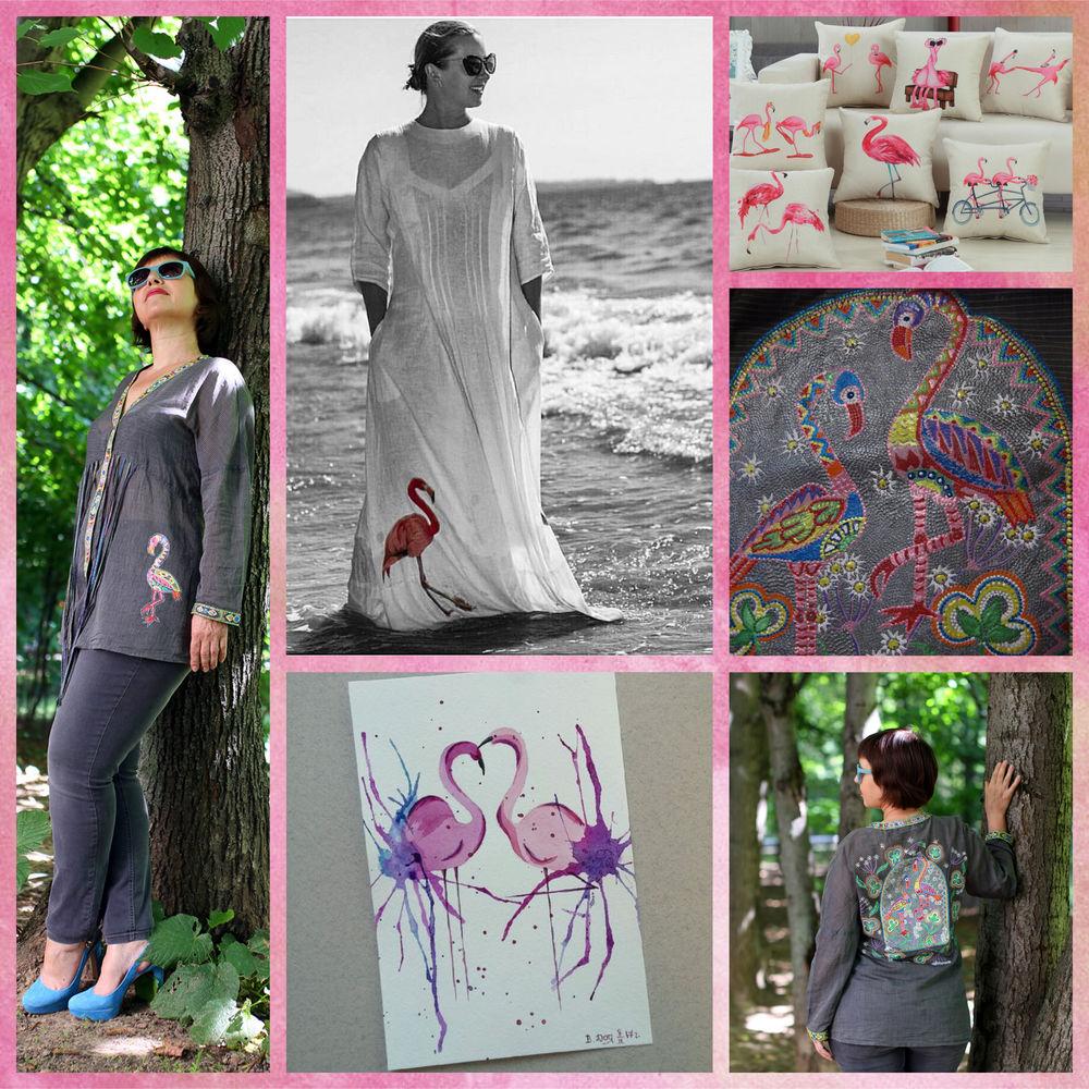 лето, я модница, летний образ, платье, платье с росписью, фламинго, футболка с туканом, евгения литва